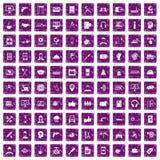 100 lilor för grunge för servicesymboler fastställda Royaltyfria Foton