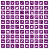 100 lilor för grunge för symboler för affärsprocess fastställda Royaltyfria Foton