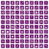 100 lilor för grunge för symboler för skönhetsalong fastställda vektor illustrationer