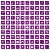 100 lilor för grunge för symbolsymboler fastställda Arkivbilder