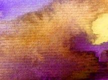 Lilor för guling för abstrakt begrepp för vattenfärgkonstbakgrund fjädrar fantasi för våt wash för himmel soluppgång texturerad s Royaltyfri Foto