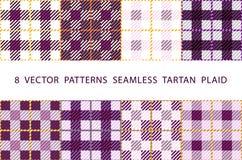 8 lilor för PLÄD för TARTAN för VEKTORMODELLER SÖMLÖSA violetta ställde in royaltyfri illustrationer