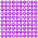 100 lilor för symboler för appellmitt fastställda royaltyfri illustrationer