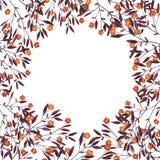 Lilor och orange höstfilialgräns Hand dragen vattenfärg royaltyfri illustrationer