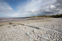 Lilstock plaża blisko Hinkley punktu Somerset Obraz Royalty Free