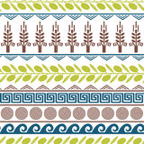 Lilting seamless pattern with olives, wheat, and greek symbols. Cute seamless pattern with olives, wheat, and greek symbols Royalty Free Stock Photos