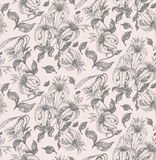 Lily drawing seamless pattern Royalty Free Stock Photo