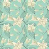 Lily Engraving Seamless Pattern tropicale Fond floral d'aquarelle Images stock