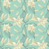 Lily Engraving Seamless Pattern tropicale Fondo floreale dell'acquerello Immagini Stock