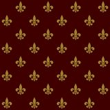 Lily Fleur de Lis Seamless Pattern real Vetor Fotografia de Stock