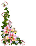 Lily Floral corner design royalty free illustration