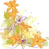 Lily flower abstract vector background Stock Photos