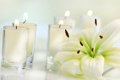 Lily flower with candle. On pale background Royalty Free Stock Images