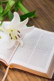 Lily flower resting on open bible Stock Image