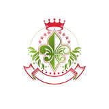 Lily Flower Royal emblem. Heraldic Coat of Arms isolated vector. Illustration created with decorative ribbon and imperial crown. Ecology and environment Stock Photography