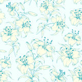 Lily flower seamless pattern. Stock Photo