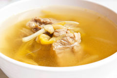 Lily flower and sparerib soup. Royalty Free Stock Photo