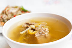 Lily flower and sparerib soup. Stock Photography