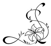Lily flowers black silhouette illustration Royalty Free Stock Image
