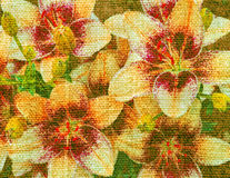 Lily flowers on a canvas. Abstract color background, lily flowers on a linen canvas vector illustration