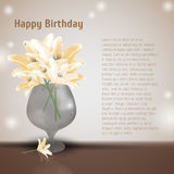 Lily flowers in glass vase. Blooming lilia with yellow petals. Beauty art with lilly blossom in vaze. Birthday greeting card. Stock Images