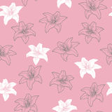 Lily flowers graphic art pink white grey color seamless pattern illustration Royalty Free Stock Photos