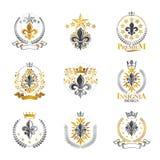 Lily Flowers Royal symbols emblems set. Heraldic Coat of Arms de royalty free illustration