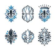 Lily Flowers Royal symbols, floral and crowns, emblems set. Heraldic Coat of Arms decorative logos isolated vector illustrations vector illustration