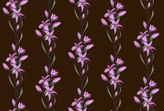 Lily Flowers Seamless Pattern on Dark Background Royalty Free Stock Image