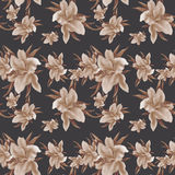 Lily flowers - wallpaper. Drawing pastel. Seamless pattern. Royalty Free Stock Photography