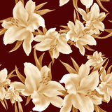 Lily flowers - wallpaper. Drawing pastel. Seamless pattern. Wallpaper. Royalty Free Stock Image