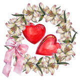 Lily  flowers wreath , heart, bow watercolor. Lily flowers wreath white background watercolor handmade heart pattern bow Royalty Free Stock Image