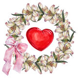 Lily  flowers wreath , heart,  bow, watercolor Royalty Free Stock Photos