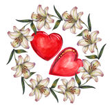 Lily  flowers wreath , heart watercolor. Lily flowers wreath white background watercolor handmade heart pattern Stock Image