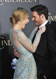 Lily James & Richard Madden. LOS ANGELES, CA - MARCH 1, 2015: Lily James & Richard Madden at the world premiere of their movie Cinderella at the El Capitan royalty free stock photography