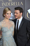 Lily James & Richard Madden. LOS ANGELES, CA - MARCH 1, 2015: Lily James & Richard Madden at the world premiere of their movie Cinderella at the El Capitan stock image