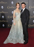 Lily James & Richard Madden. LOS ANGELES, CA - MARCH 1, 2015: Lily James & Richard Madden at the world premiere of their movie Cinderella at the El Capitan stock images