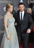 Lily James & Richard Madden. LOS ANGELES, CA - MARCH 1, 2015: Lily James & Richard Madden at the world premiere of their movie Cinderella at the El Capitan stock photo