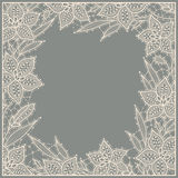 Lily. Lace. Frame. Stock Image
