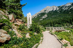 Lily Lake Rocky Mountain National Park Colorado Trail. Lily Lake trailhead Estes Park Rocky Mountain National Park in Colorado with trails along the lake stock photos