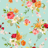 Lily and Orchid Flowers Seamless Background. Floral Pattern Stock Images