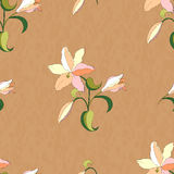 Lily pattern on on coffee-color grunge background. Seamless lily pattern on coffee-color grunge background Royalty Free Stock Image