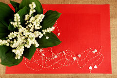 Lily, red, background. White lily of the valley in a glass vase and red background Stock Photography