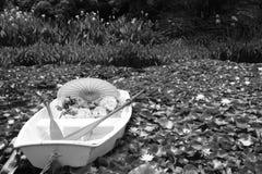 Lily rowboat bw Royalty Free Stock Image