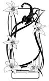 Lily and scorpion, frame. Vector frame with flowers of lily  and scorpion in black and white colors Stock Images