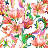 Lily seamless pattern with watercolor painted ornament Royalty Free Stock Image