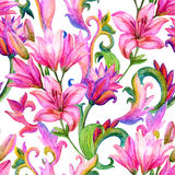 Lily seamless pattern with watercolor painted ornament Stock Images