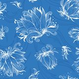 Lily Sketch Vector Pattern Royalty Free Stock Image