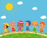 children walk on a beautiful summer day Stock Photos