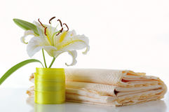 Lily and tablecloth. Against the white background Royalty Free Stock Images
